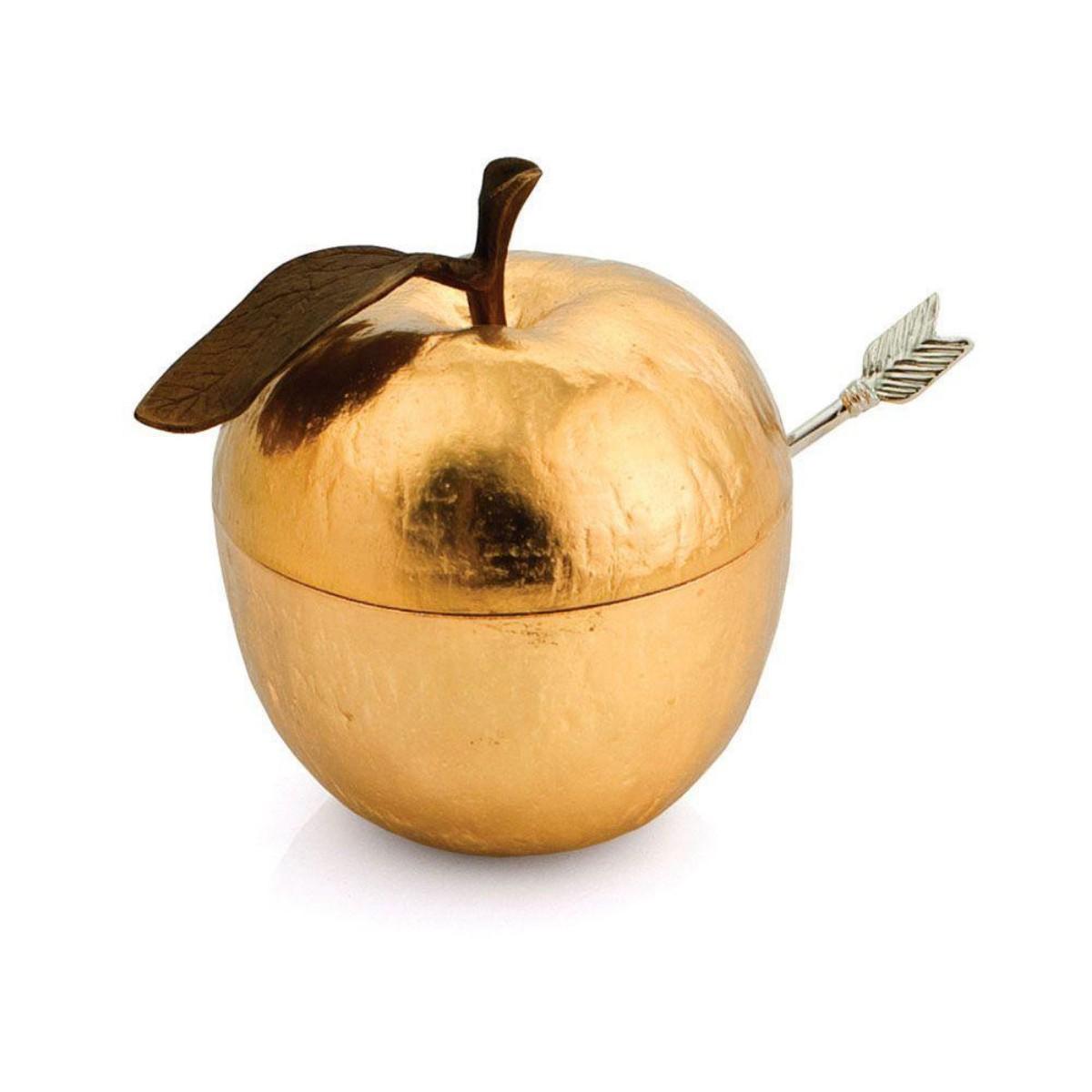 Michael Aram I Apple Honey Pot w/ Spoon I Goldtone