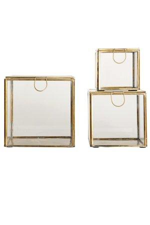 Oppbevaringsboks 3st 15x15 cm - Messing