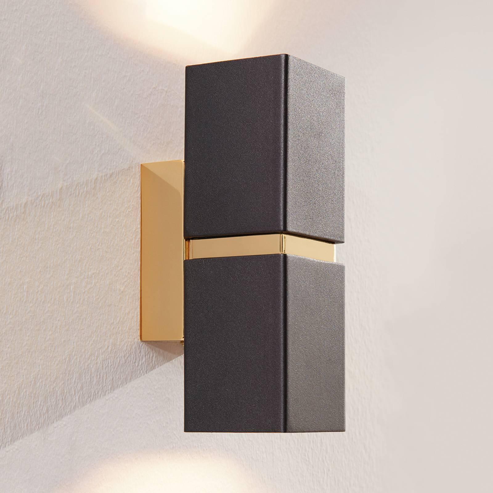 LED-vegglampe Passa, svart-gull, 2 lyskilder