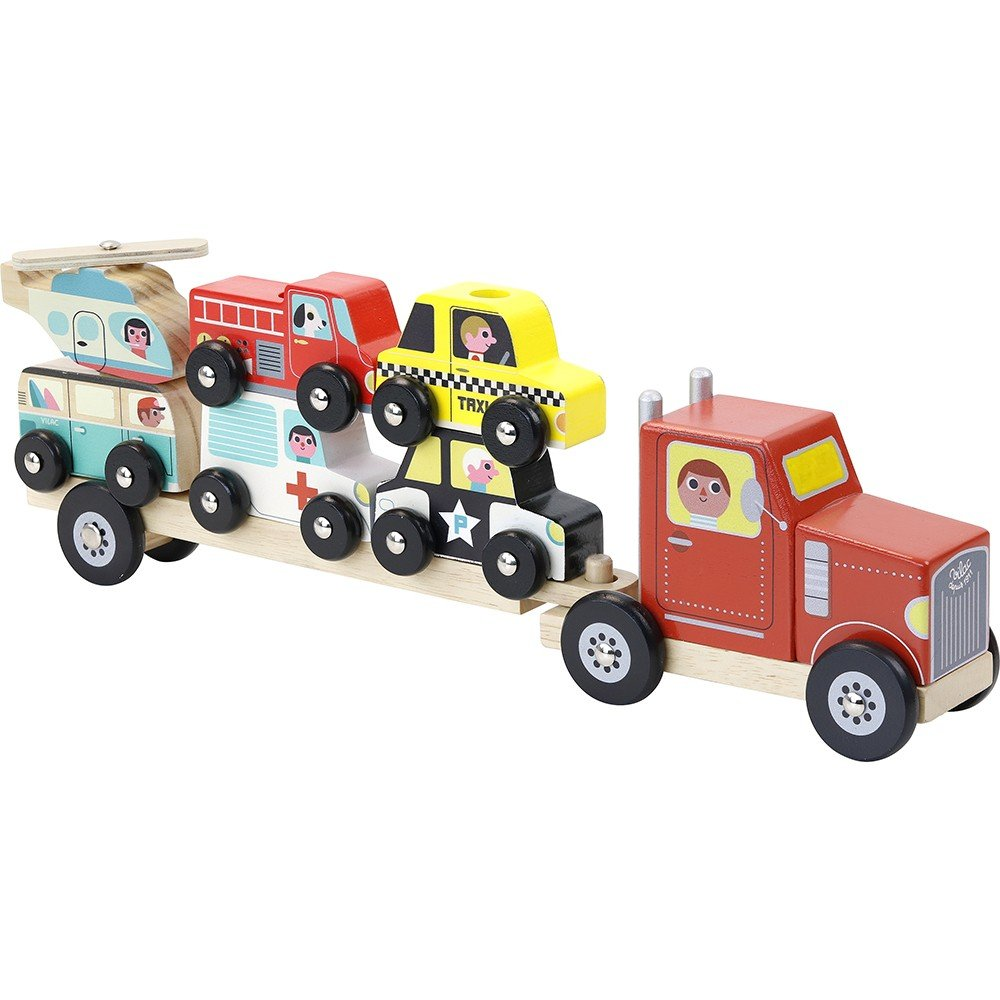 Vilac - Truck and trailer with stacking cars (7601)