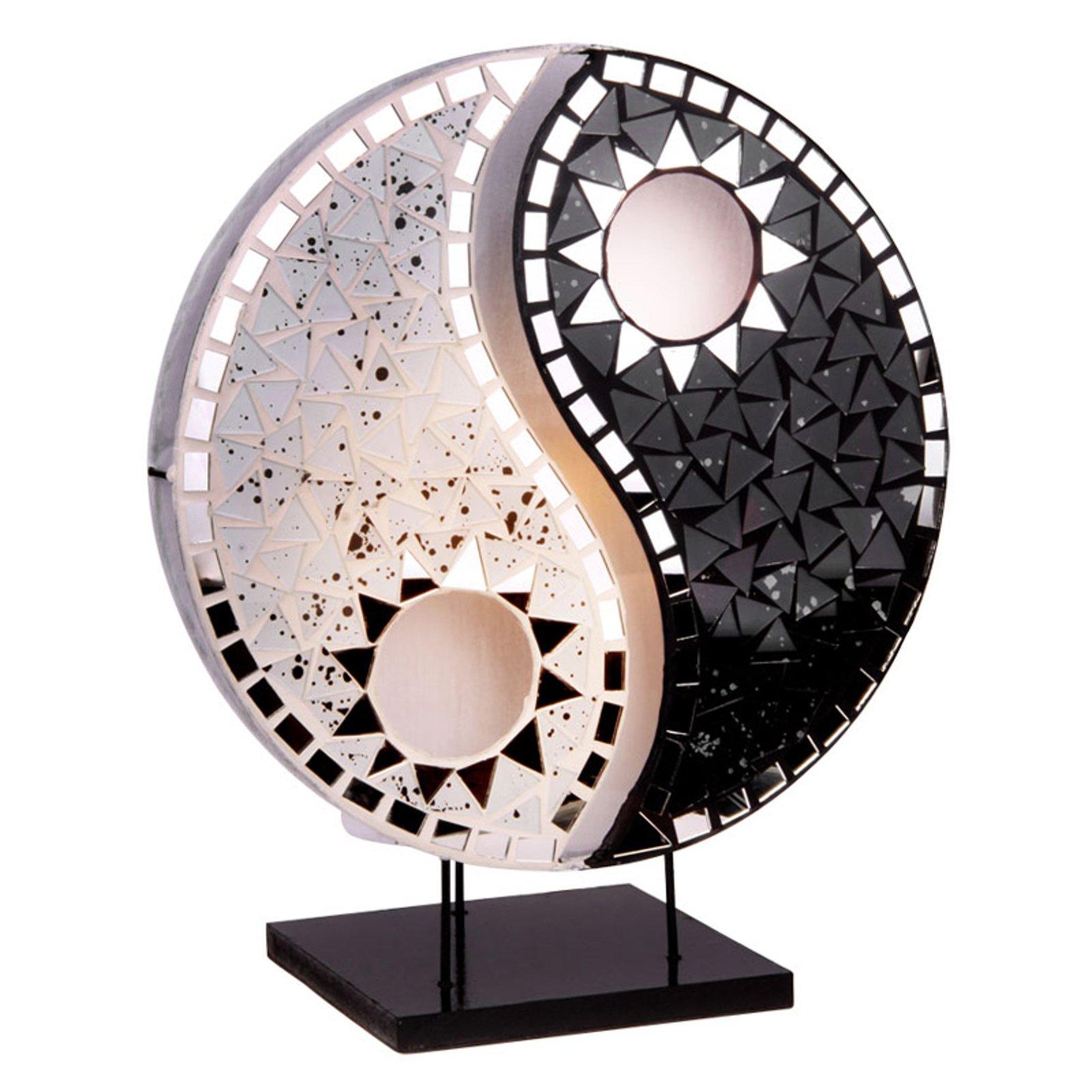 Bordlampe Ying Yang m. mosaiske speilsteiner svart