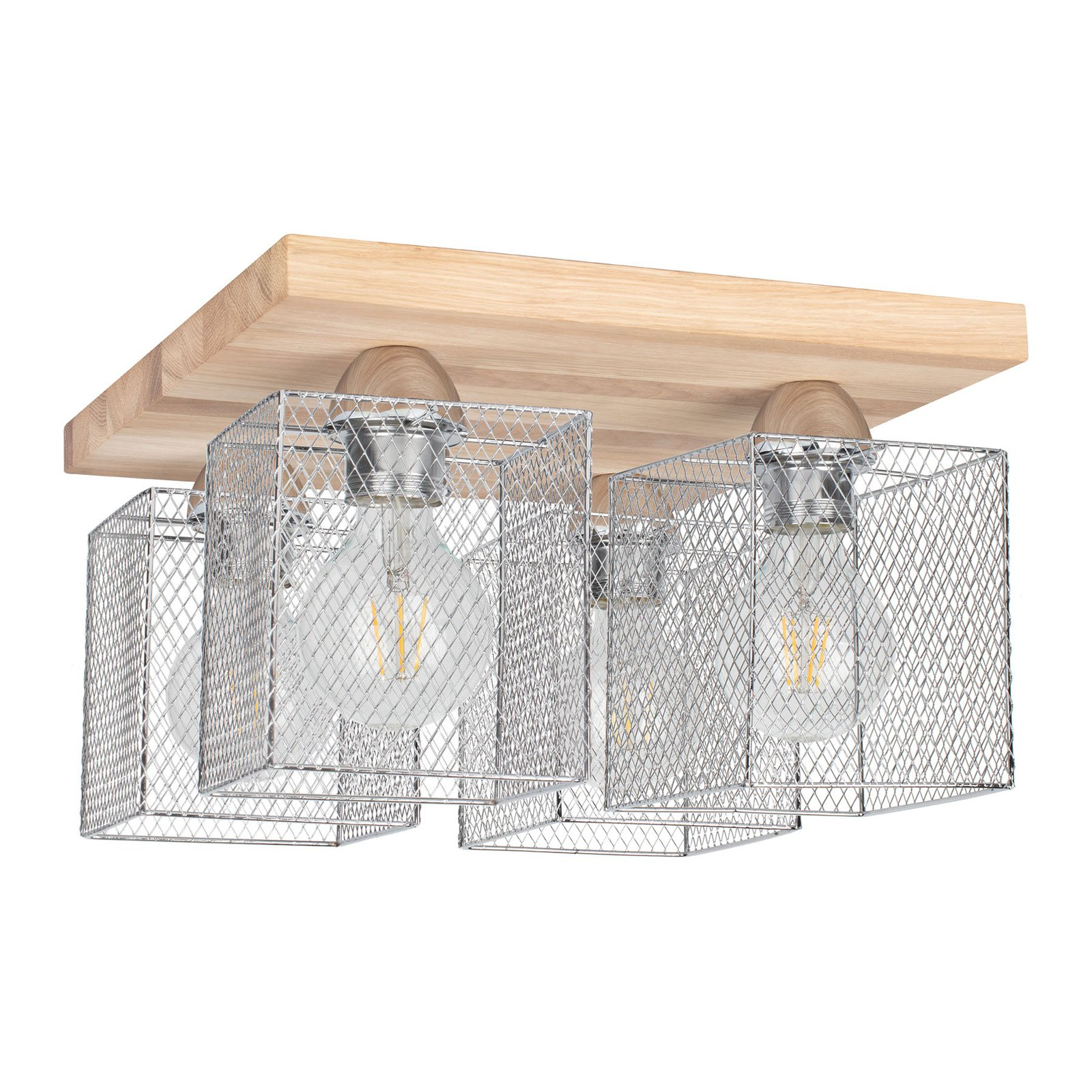Taklampe Norman Wood 4 lyskilder, oljet eik