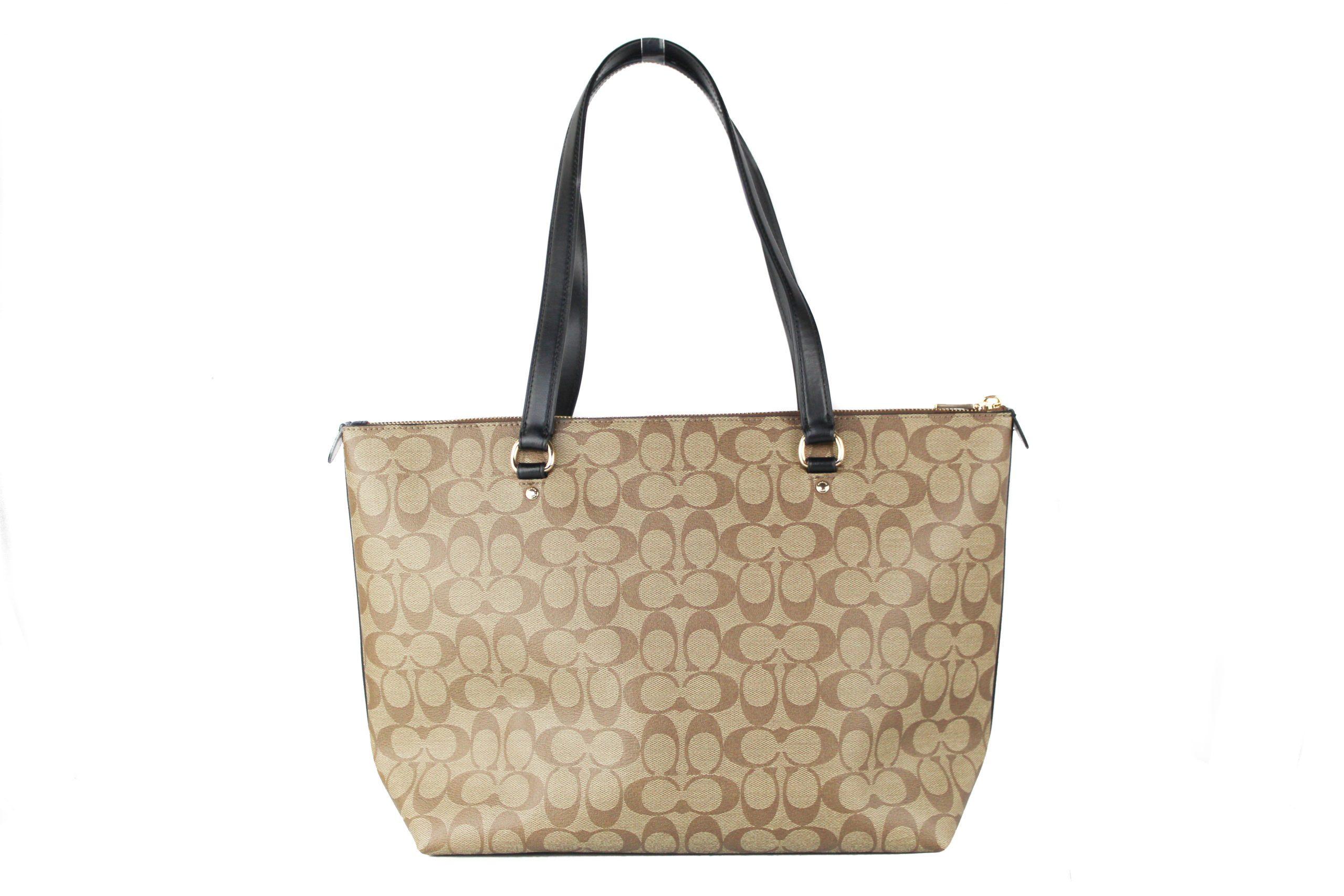 COACH Women's Canvas Leather Tote Bag Khaki 504292