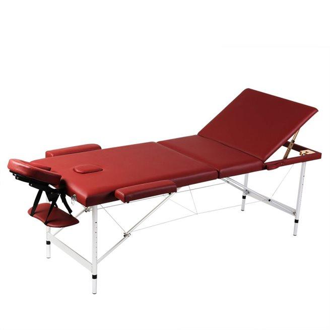 vidaXL Röd hopfällbar 3-sektions massagebänk med aluminium ram