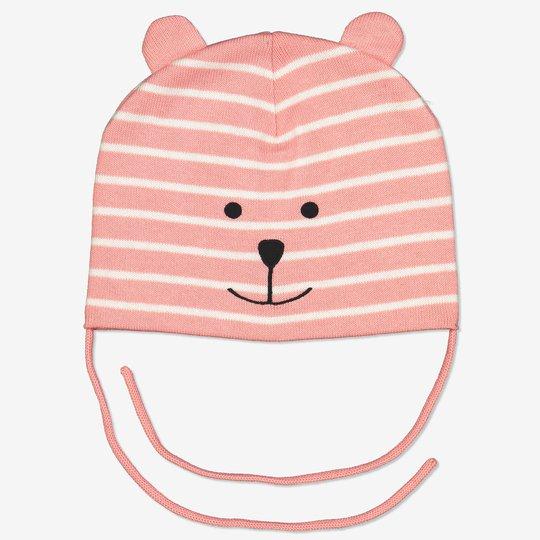 Strikket lue med ører baby rosa