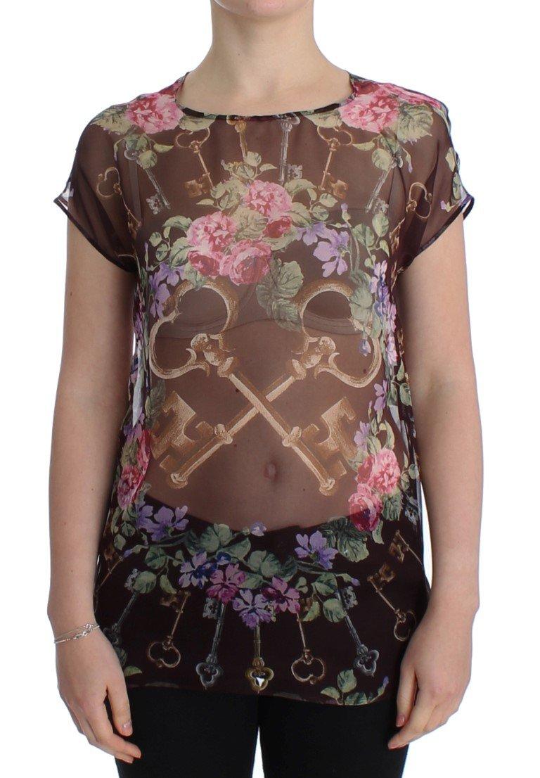 Black Key Floral Print Silk Blouse T-shirt - IT40|S