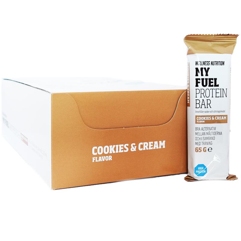 """Hel Låda Proteinbars """"Cookies & Cream"""" 20 x 65g - 88% rabatt"""