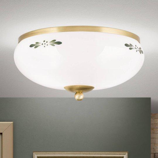 Taklampe Landhaus messing opal grønn Ø 28 cm