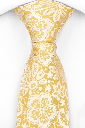 Silke Slips, Ljust guldgul bas, vita Blomster & blad, Gull, Blomster og blad
