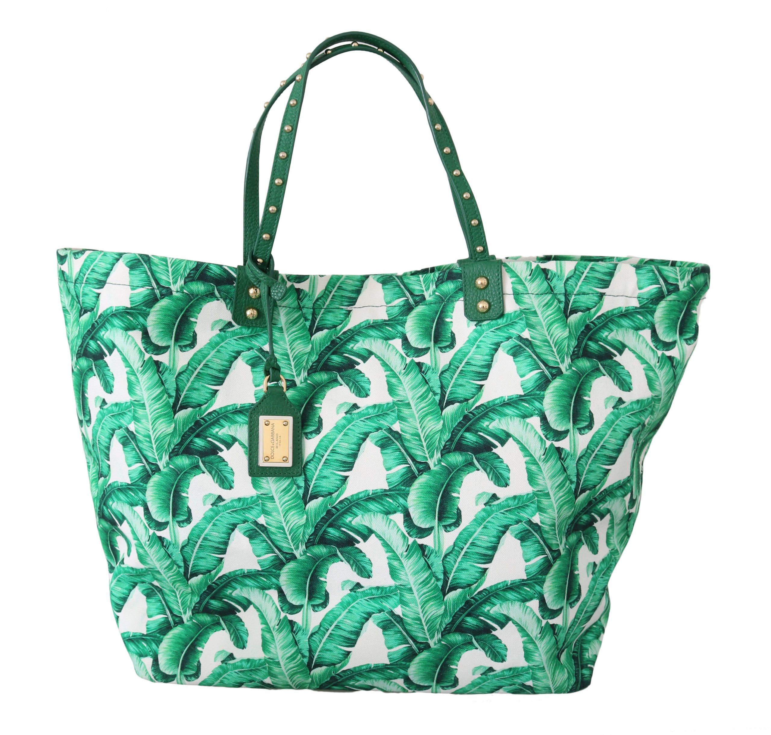 Dolce & Gabbana Women's Banana Leaves Shopping Tote Bag Green VAS8708