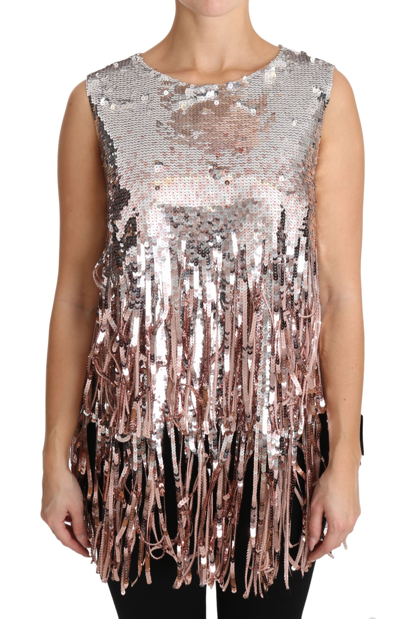 Dolce & Gabbana Women's Sequined Fringe Top Multicolor DR1574 - IT48|XXL