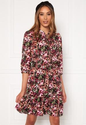 ONLY Lavin 3/4 Short Dress Black AOP Neon Flowe L