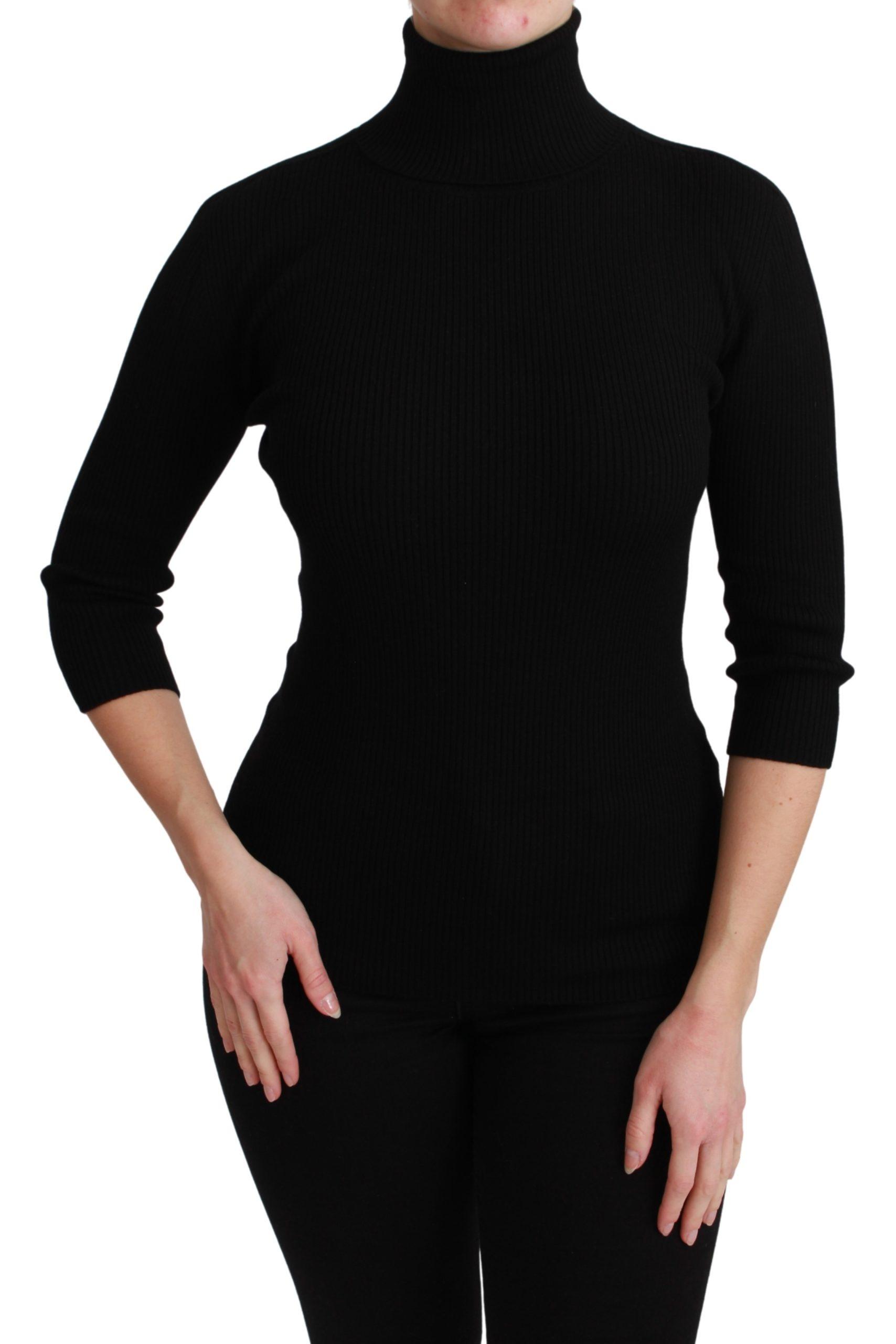 Dolce & Gabbana Women's Turtleneck Wool Pullover Sweater Black TSH4594 - IT42 M