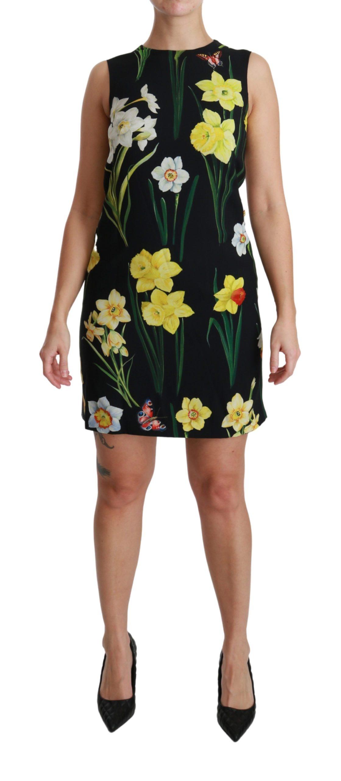 Dolce & Gabbana Women's Floral Sleeveless Sheath Mini Dress Black DR2533 - IT38 XS