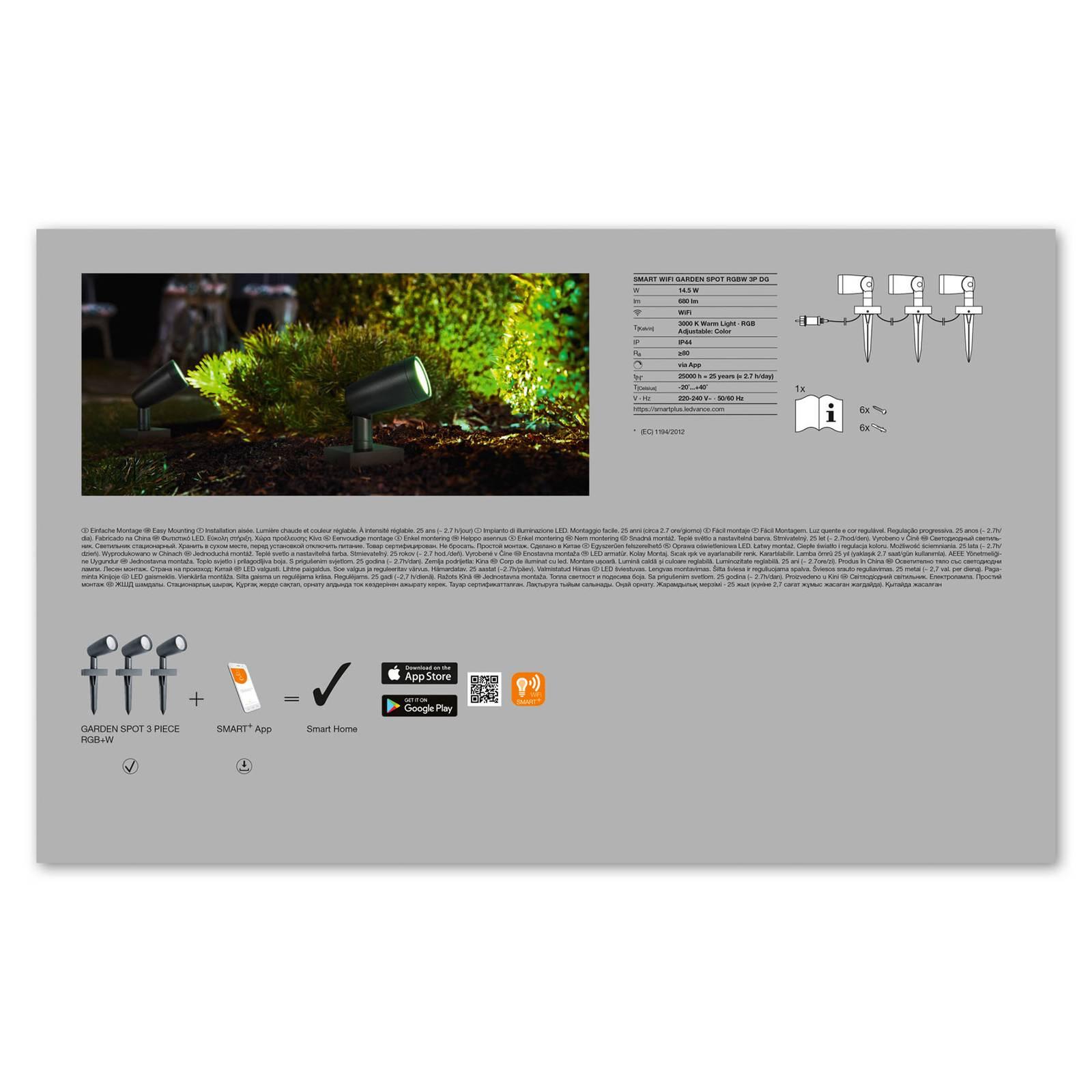 LEDVANCE SMART+ WiFi Garden -spotti, 3 kpl