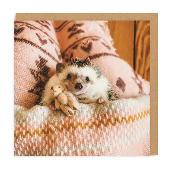 Hedgehog In Bed Square Greeting Card