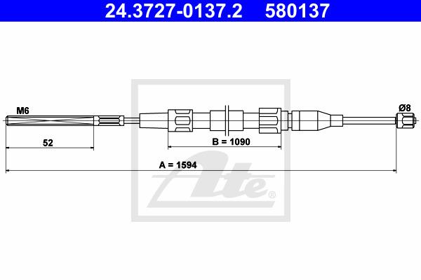 Käsijarruvaijeri ATE 24.3727-0137.2