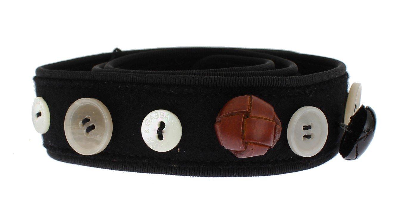 Dolce & Gabbana Women's Viscose Wool Button Waist Belt Black SIG13774 - 70 cm / 28 Inches