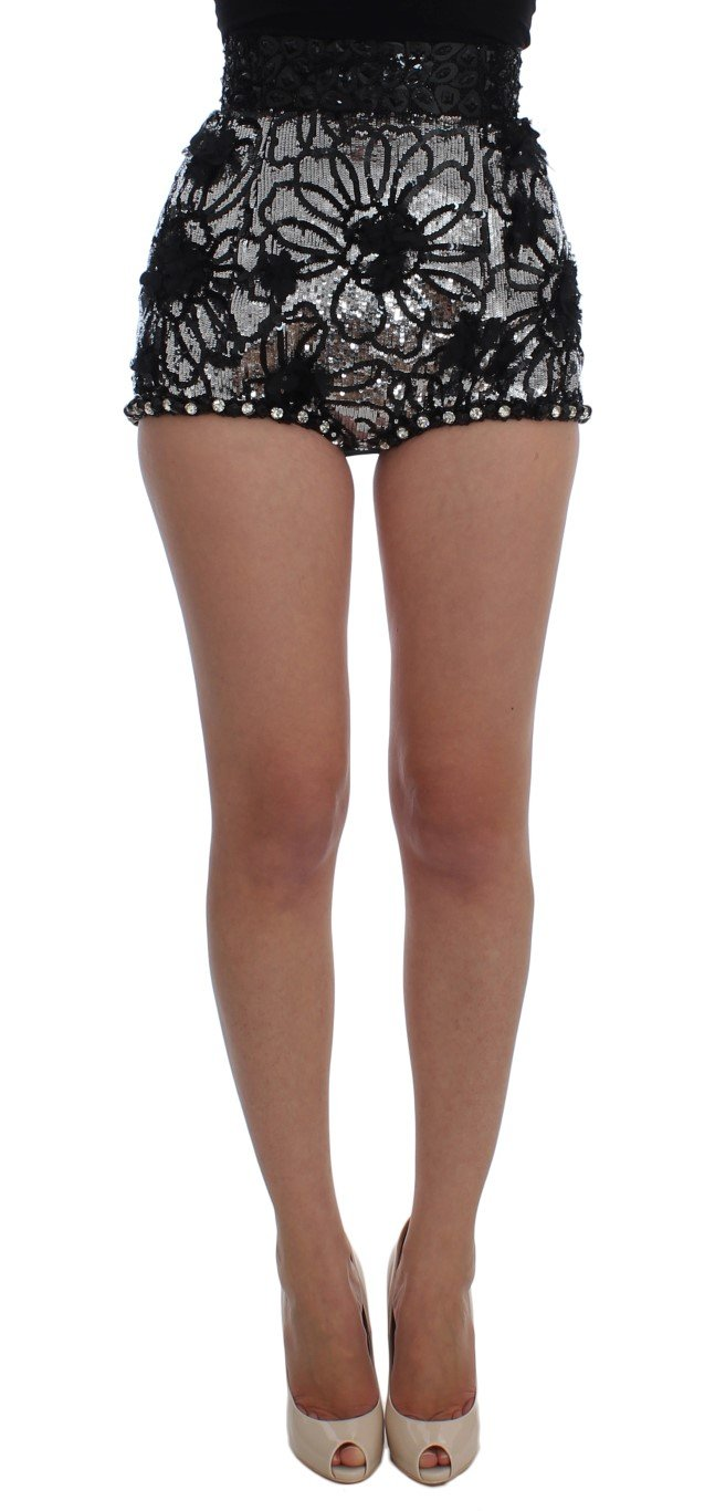 Dolce & Gabbana Women's Crystal Sequined Shorts Black SIG20108-1 - IT40|S
