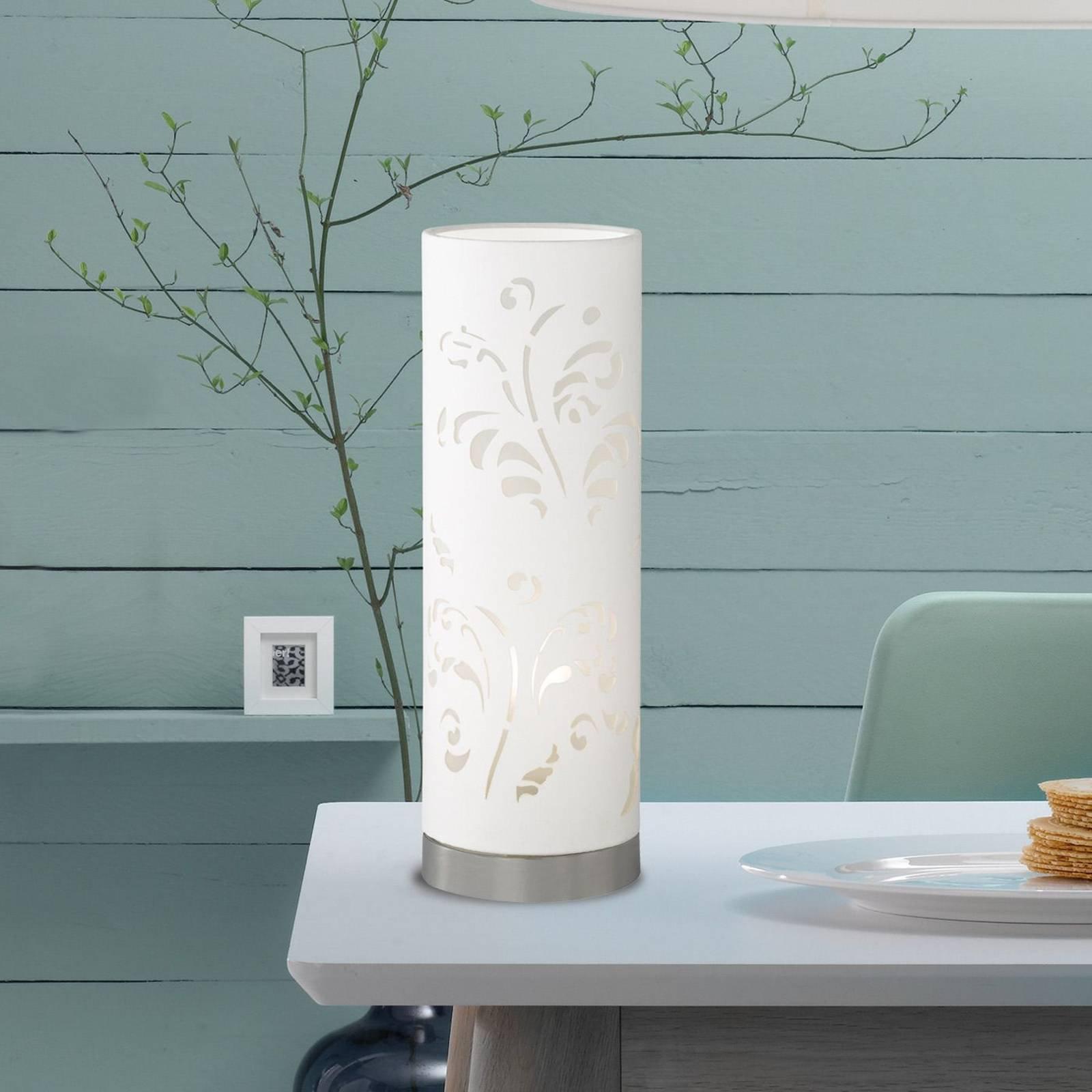 Rørformet bordlampe Flora hvit med dekor