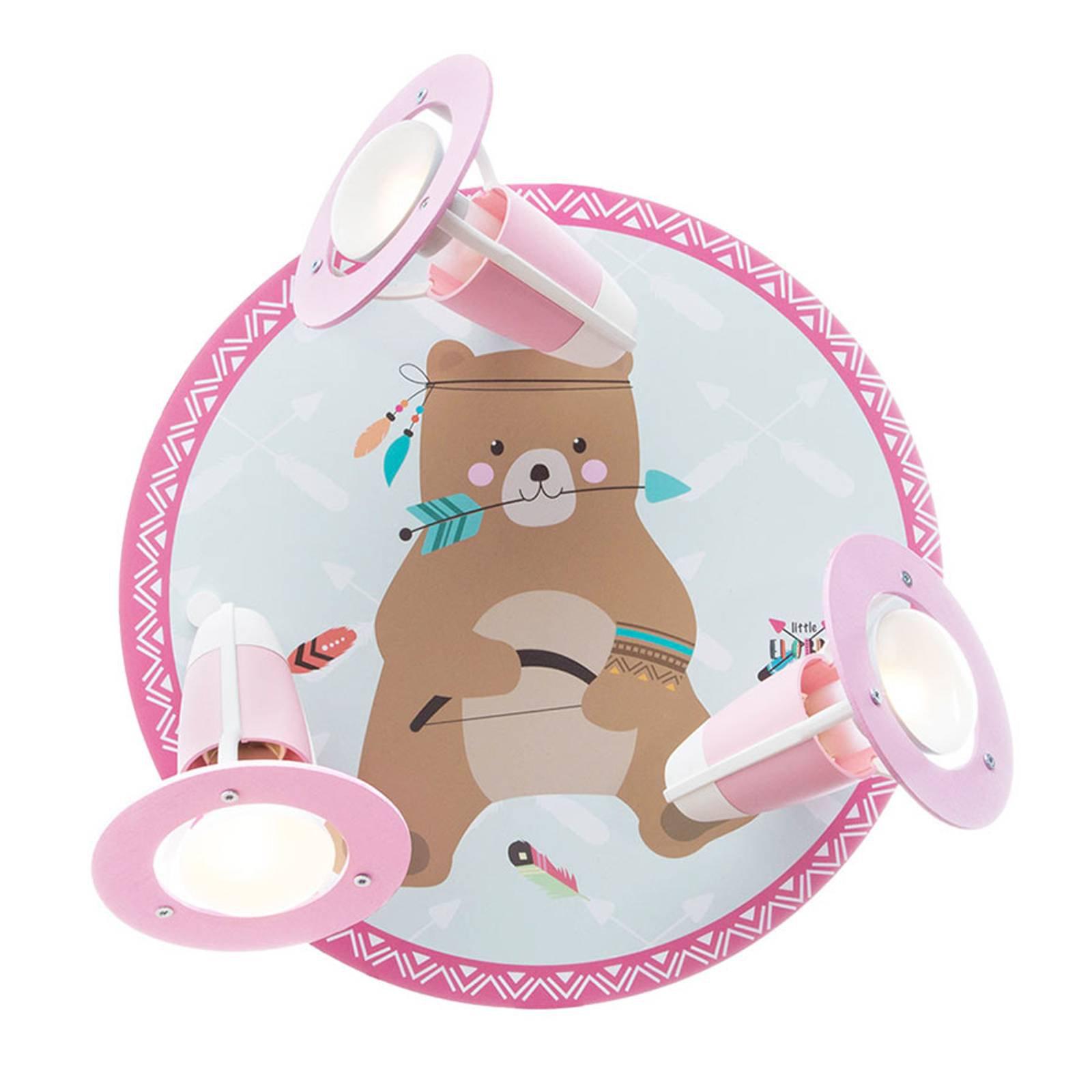 Taklampe Little Indians, Bamse Bjørn, mint og rosa