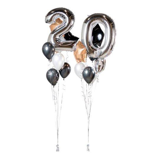 Ballongbukett Happy Birthday 20 Silver