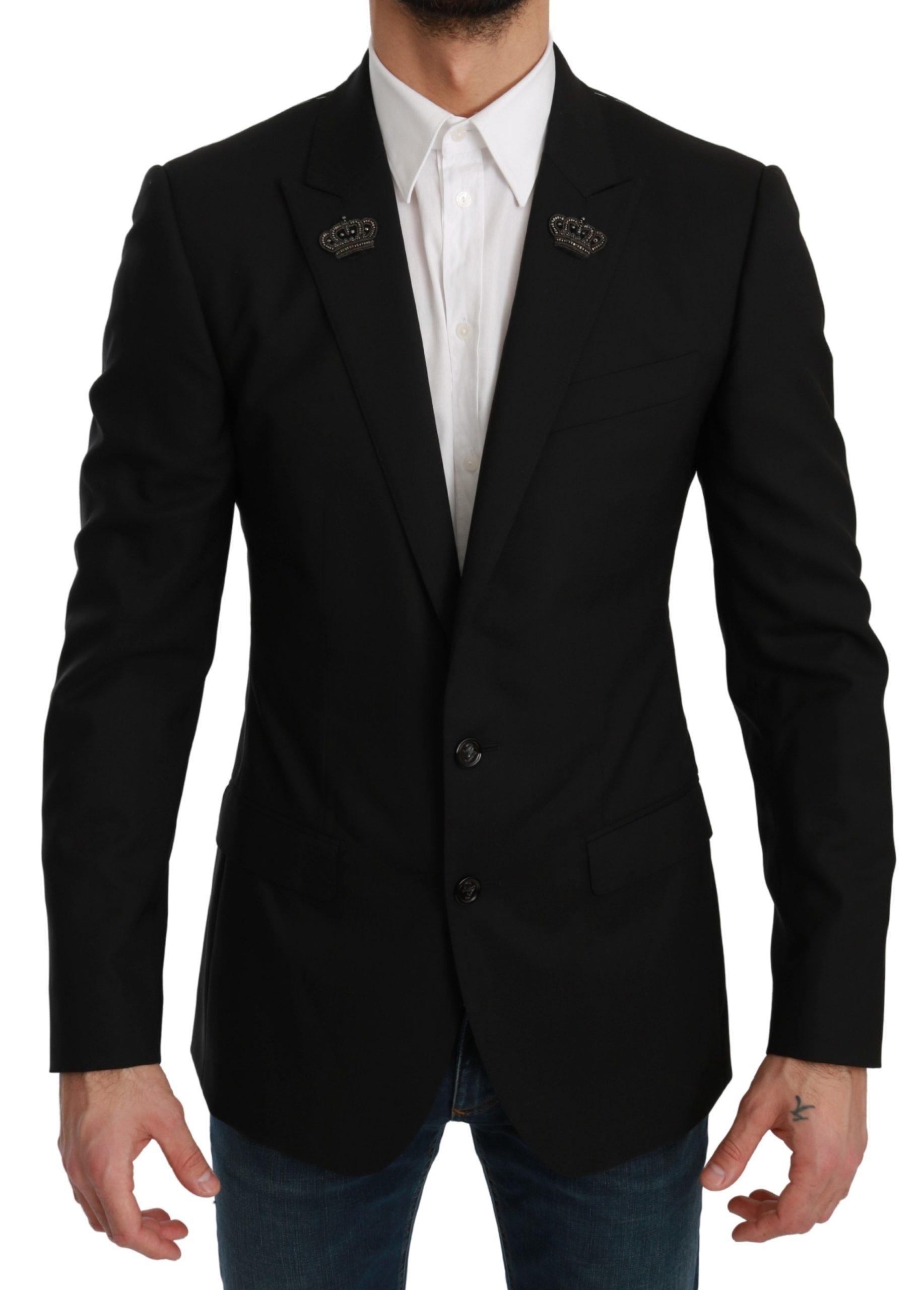 Dolce & Gabbana Men's Crown Slim Fit Wool Blazer Black KOS1771 - IT46   S