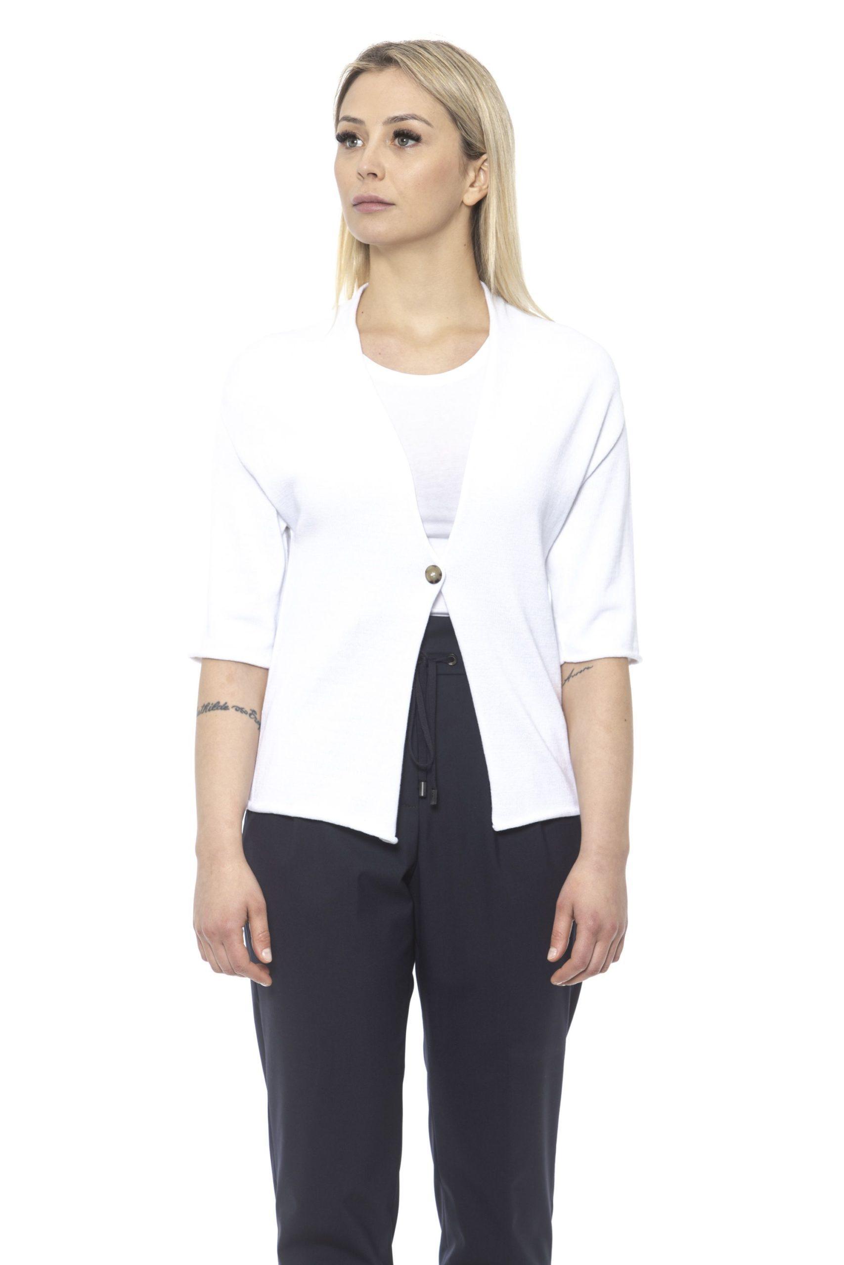 Peserico Women's Bianco Sweater White PE1426943 - IT42 | S