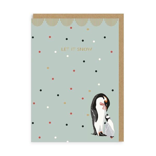 Let It Snow Penguin Christmas Card
