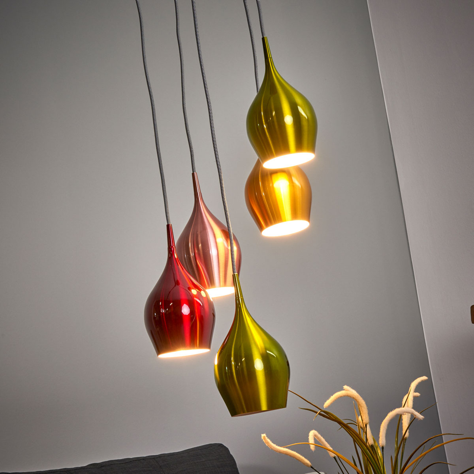5-lamp. Vibrant-riippuvalaisin, värikäs