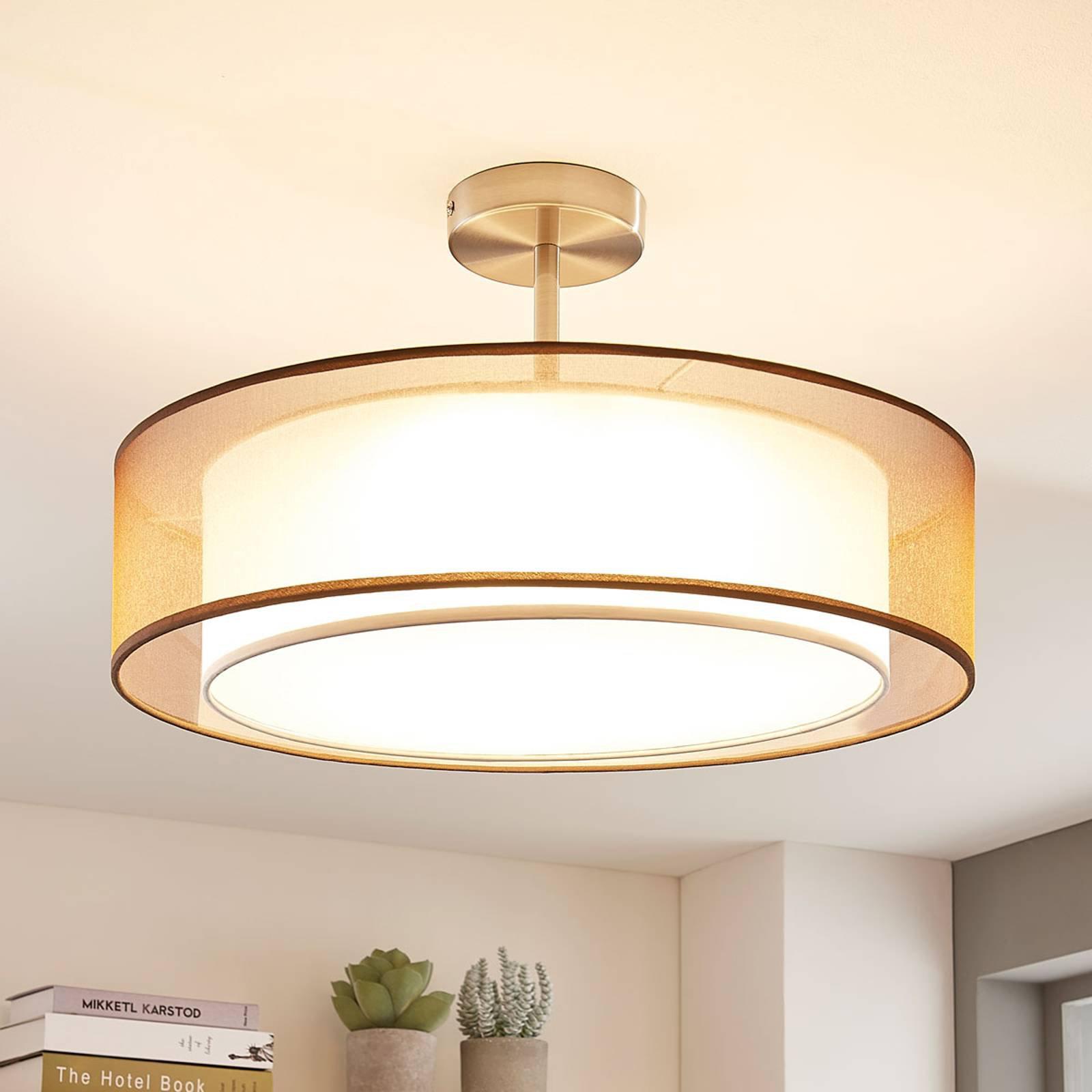 LED-taklampe Pikka, 3-trinns dimbar, brun