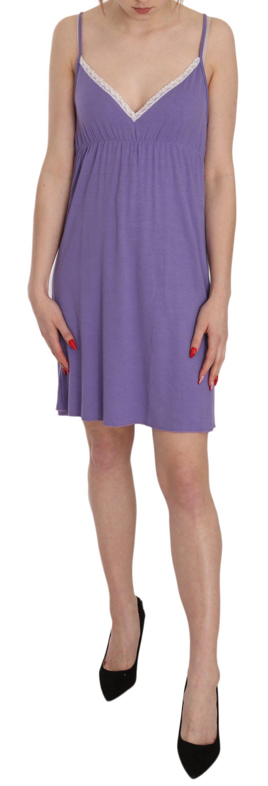 PINK MEMORIES Women's Spaghetti Strap Shift Mini Dress Purple TSH3440 - IT42 M