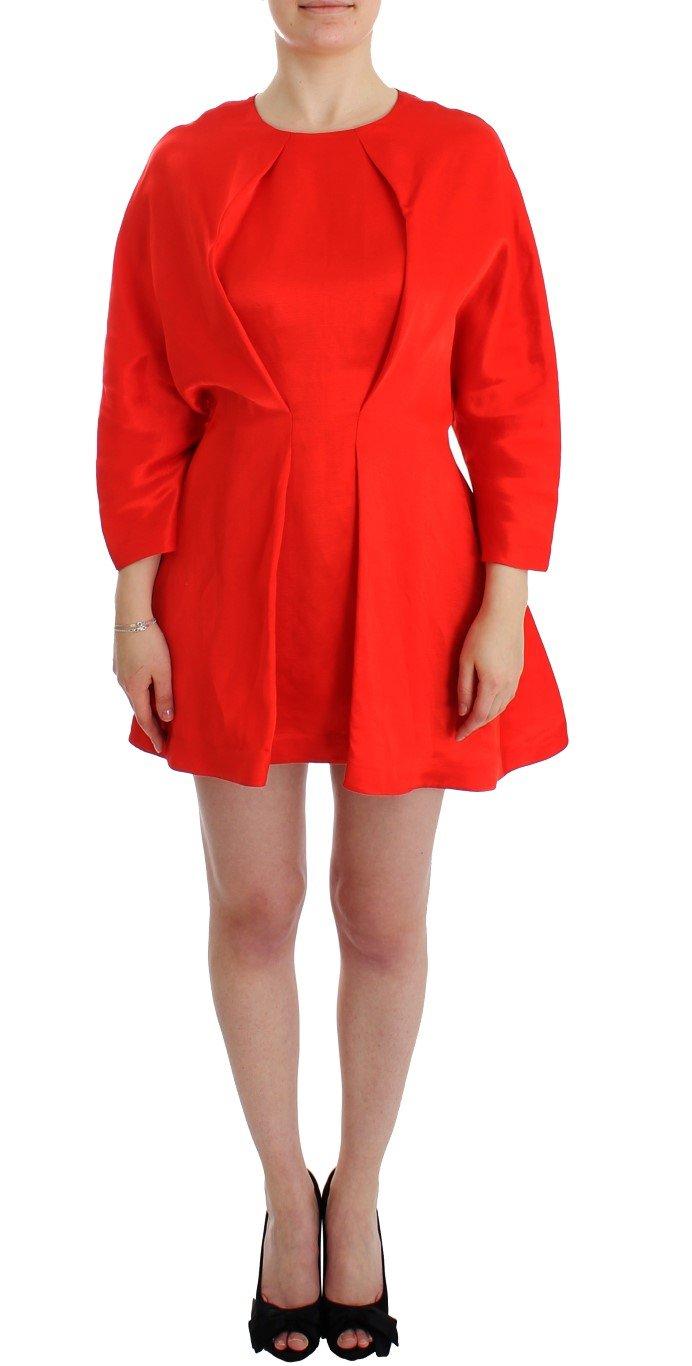 Fyodor Golan Women's Linen Sleeve Sheath Dress Red SIG12596 - S