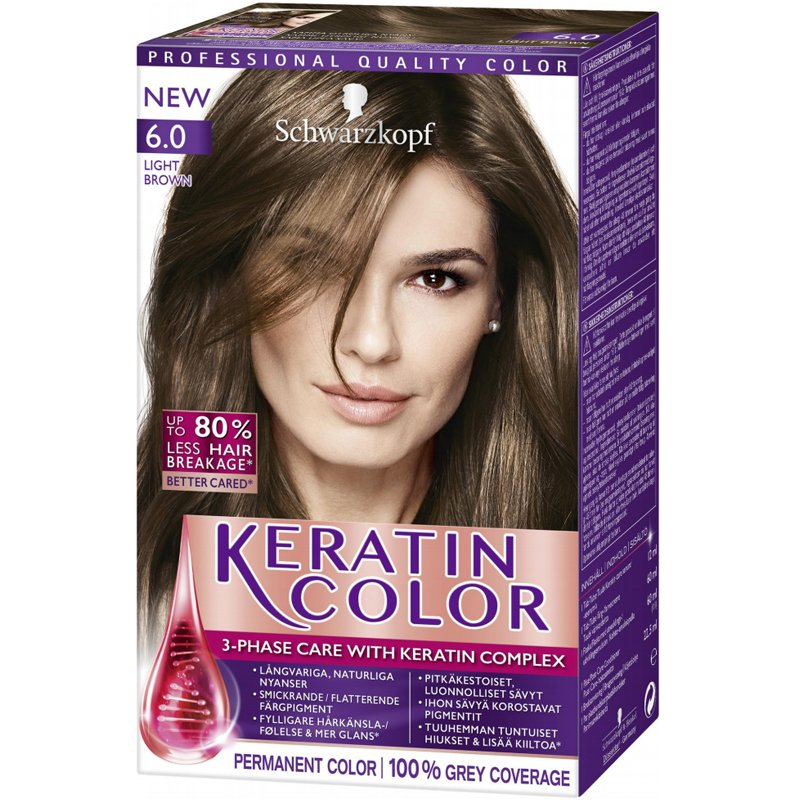 "Hiusväri ""Keratin Color 6.0 Light Brown"" - 37% alennus"