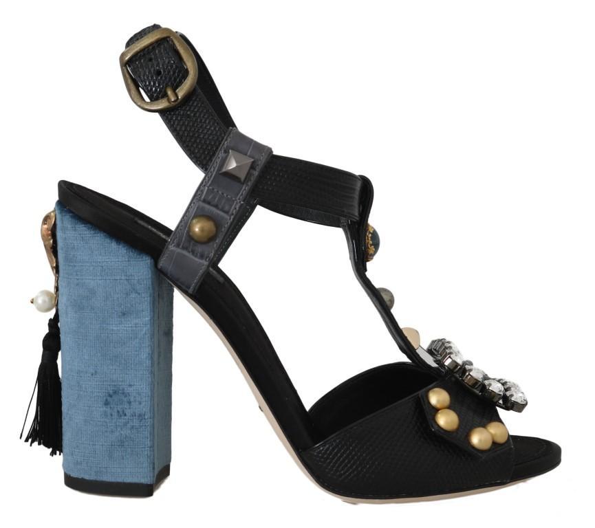 Dolce & Gabbana Women's Leather Crystal Sandals Black LA5358 - EU36/US5.5