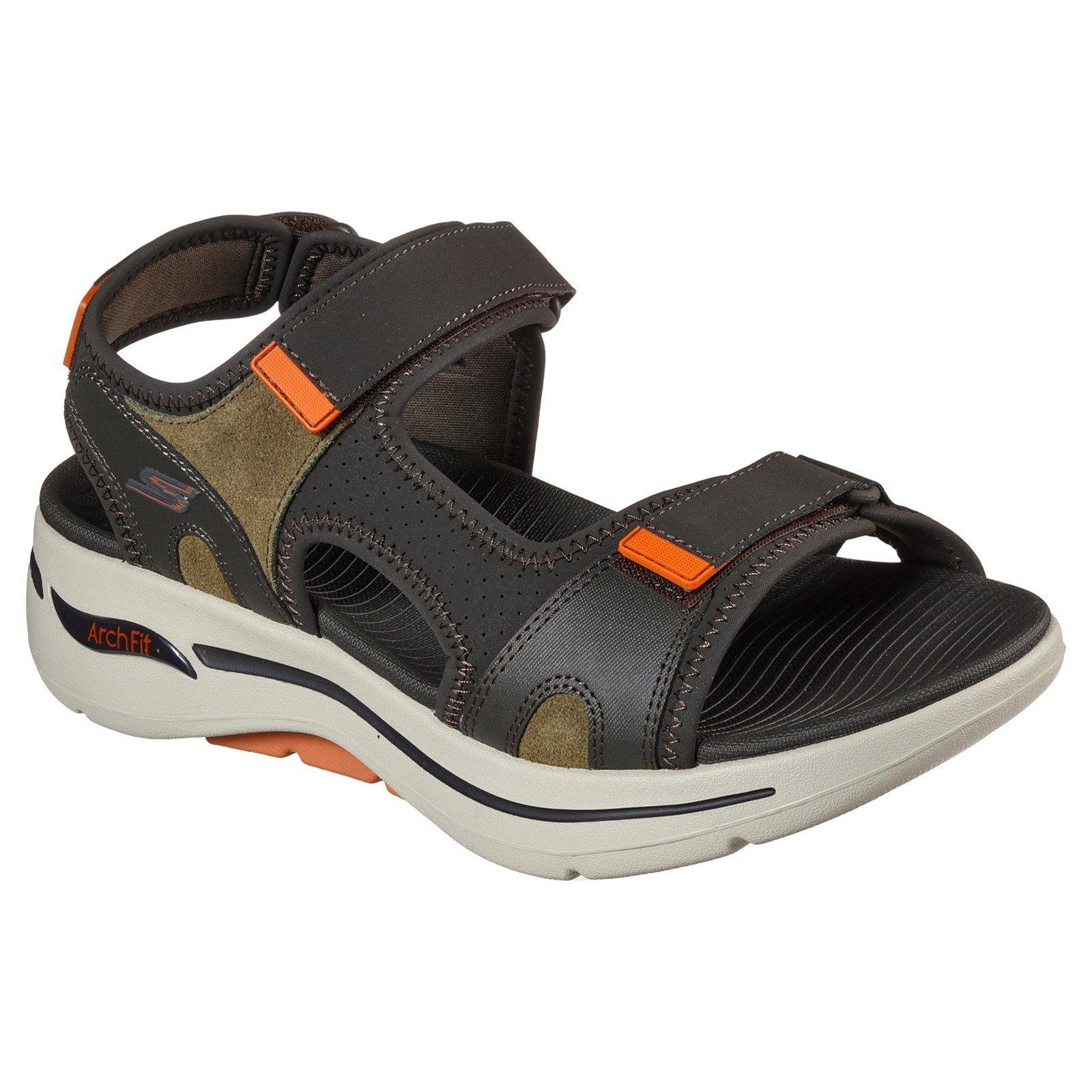Skechers Men's Go Walk Arch Fit Mission Summer Sandal Multicolor 32211 - Olive/Orange 9