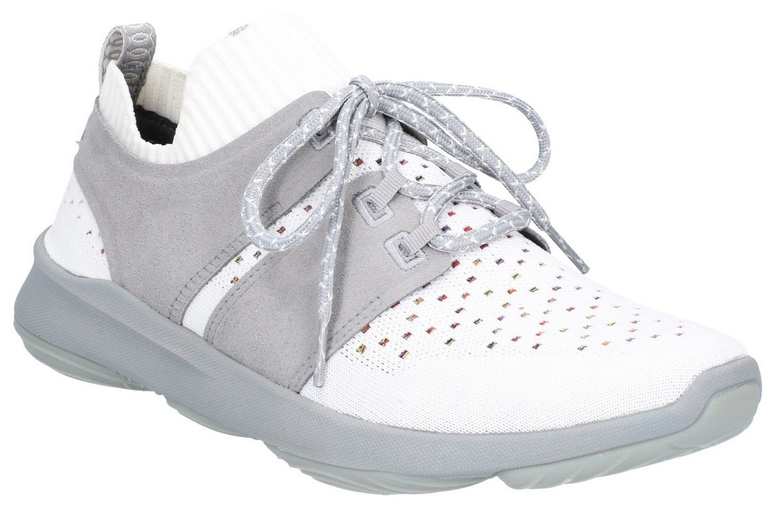 Hush Puppies Men's World BounceMax Lace Up Trainer Ivory Knit 30003 - Ivory Knit 6