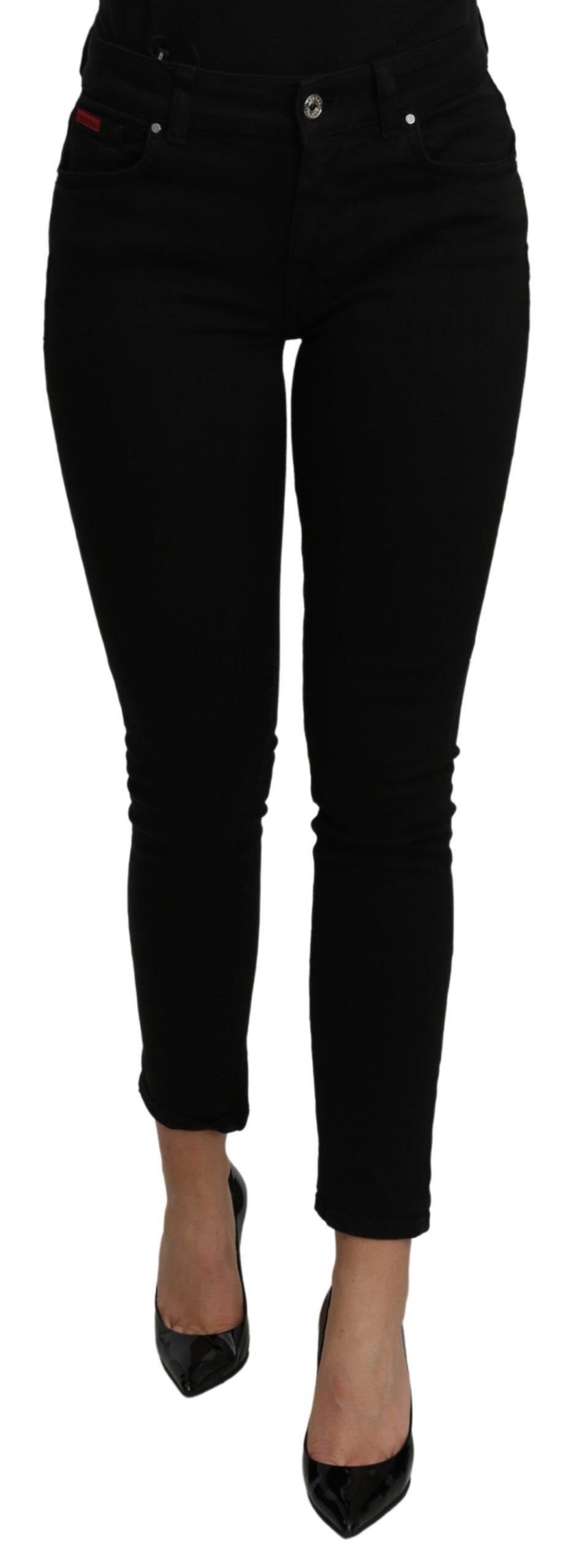 Dolce & Gabbana Women's Mid Waist Slim Cotton Jeans Black PAN71117 - IT38|XS