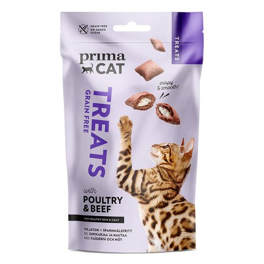 PrimaCat Crunchy Grain Free Poultry & Beef for Skin & Coat 40 g