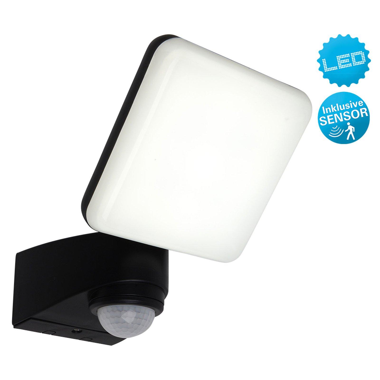 Utendørs LED-vegglampe Jaro, sensor, 1 lyskilde