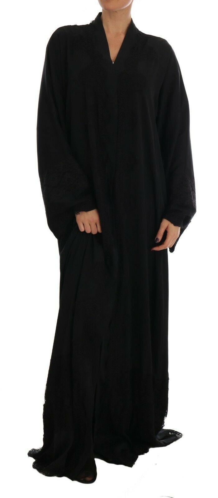 Dolce & Gabbana Women's Silk Ricamo Kaftan Abaya Dress Black DR1396 - IT42|M