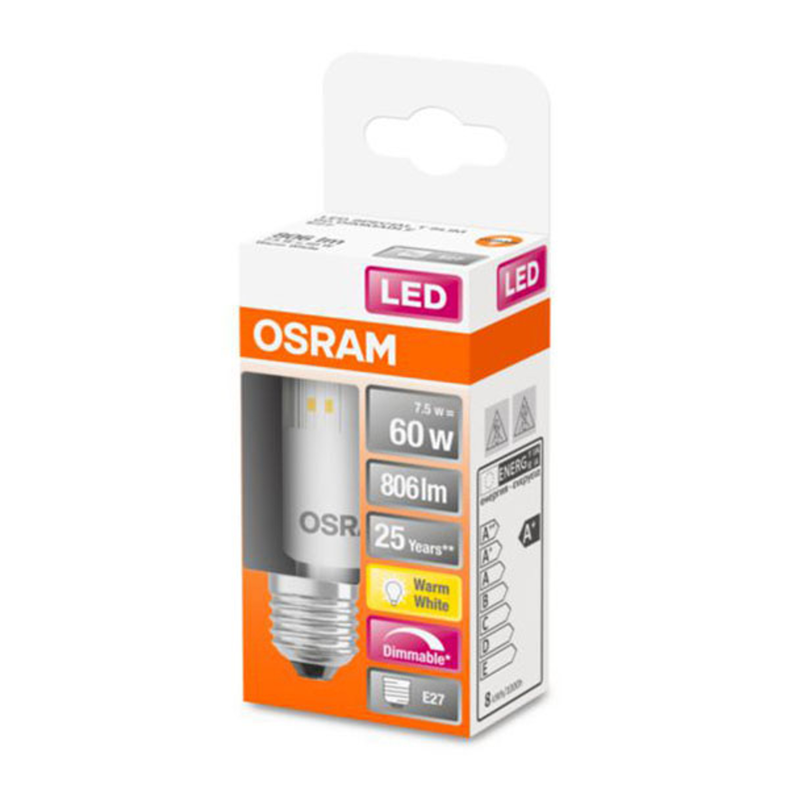 OSRAM-LED-lamppu Special T E27 7,5W 2 700 K dim