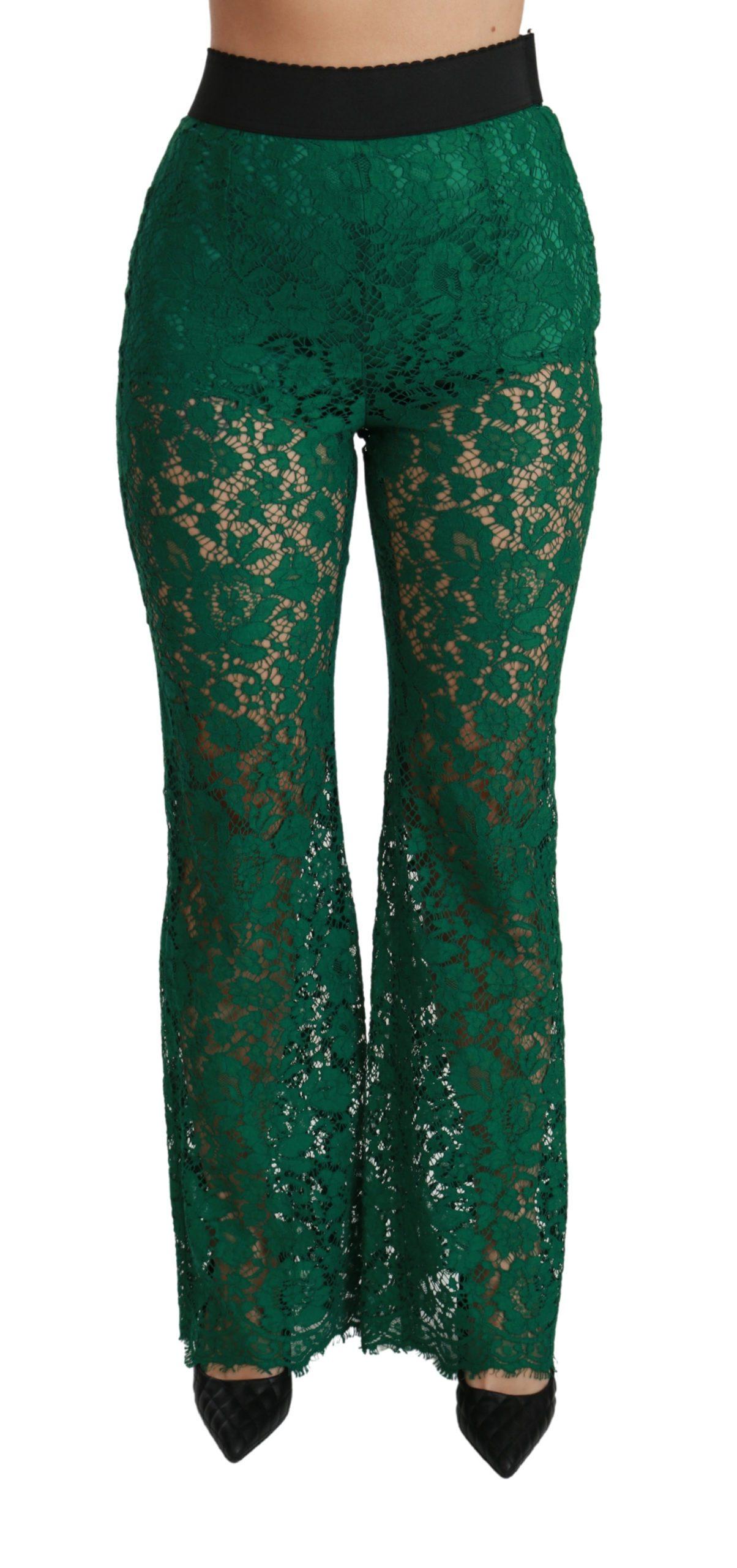 Dolce & Gabbana Women's Lace High Waist Flared Trouser Green PAN70824 - IT40 S