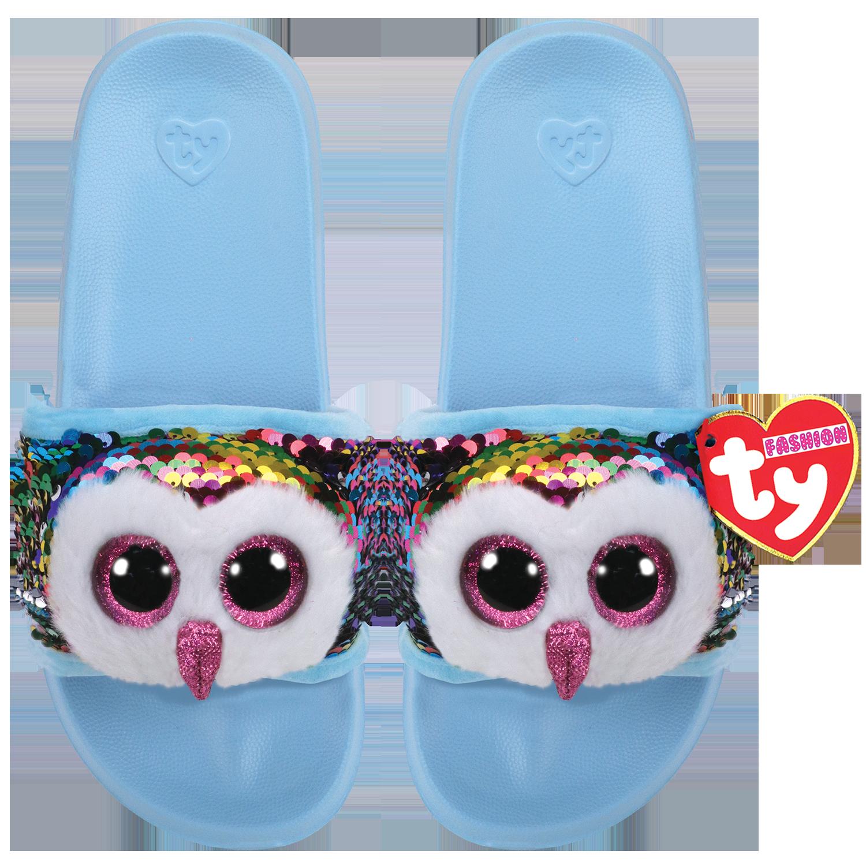Ty Plush - Sequin Slides - Owen the Owl (Size: 32-34) (TY95633)