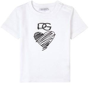 Dolce & Gabbana Scribble Heart Carretto T-shirt Vit 12-18 mån