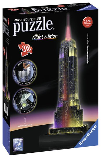 Ravensburger 3D-Puslespill Empire State Building Natt 216 Biter