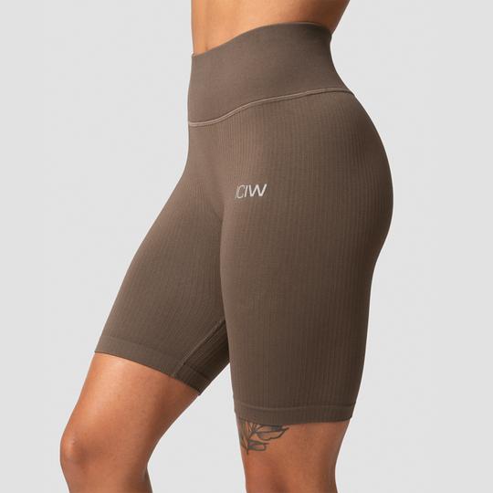 Ribbed Define Seamless Biker Shorts, Dark Sand
