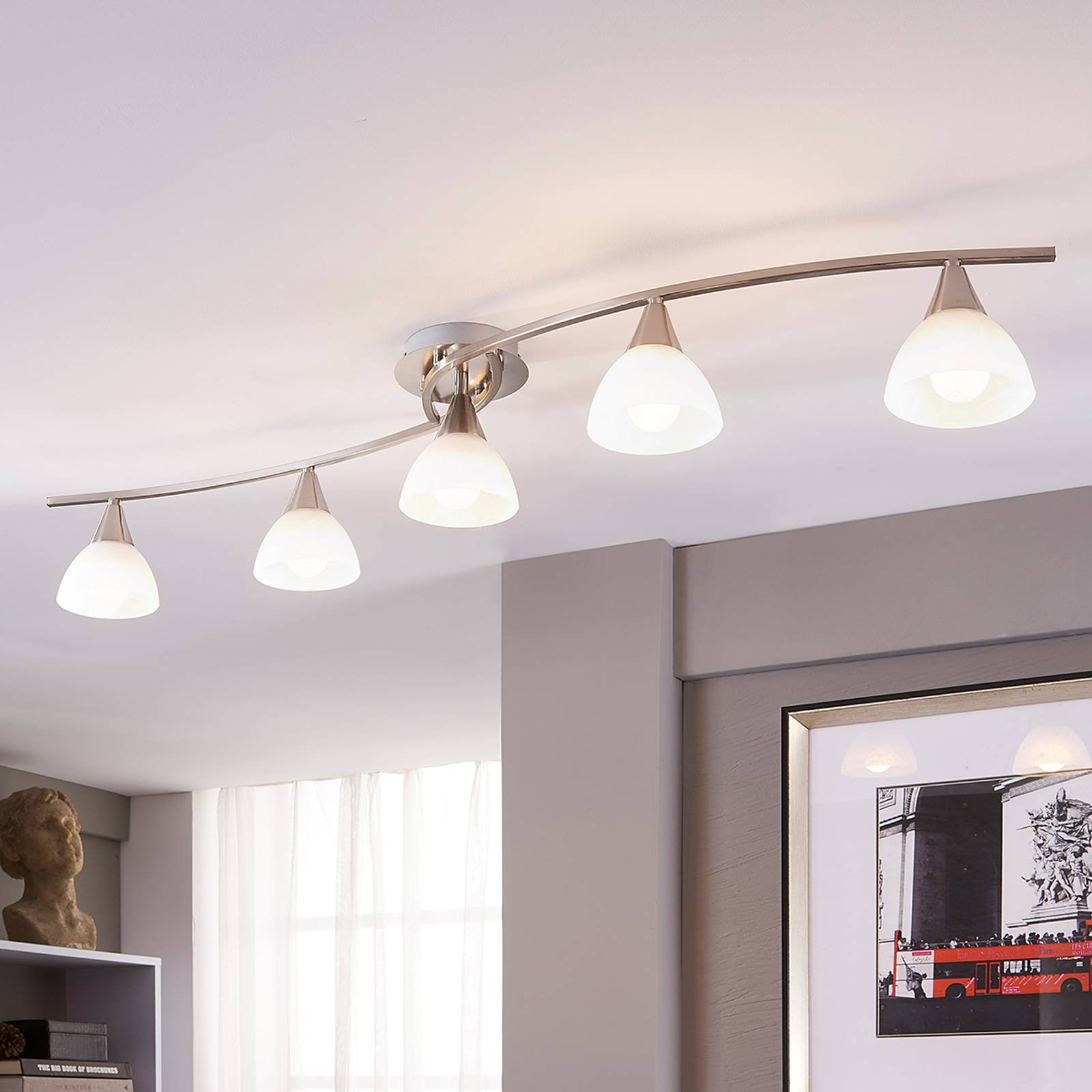Taklampe Della med 5 LED-lys, matt nikkel
