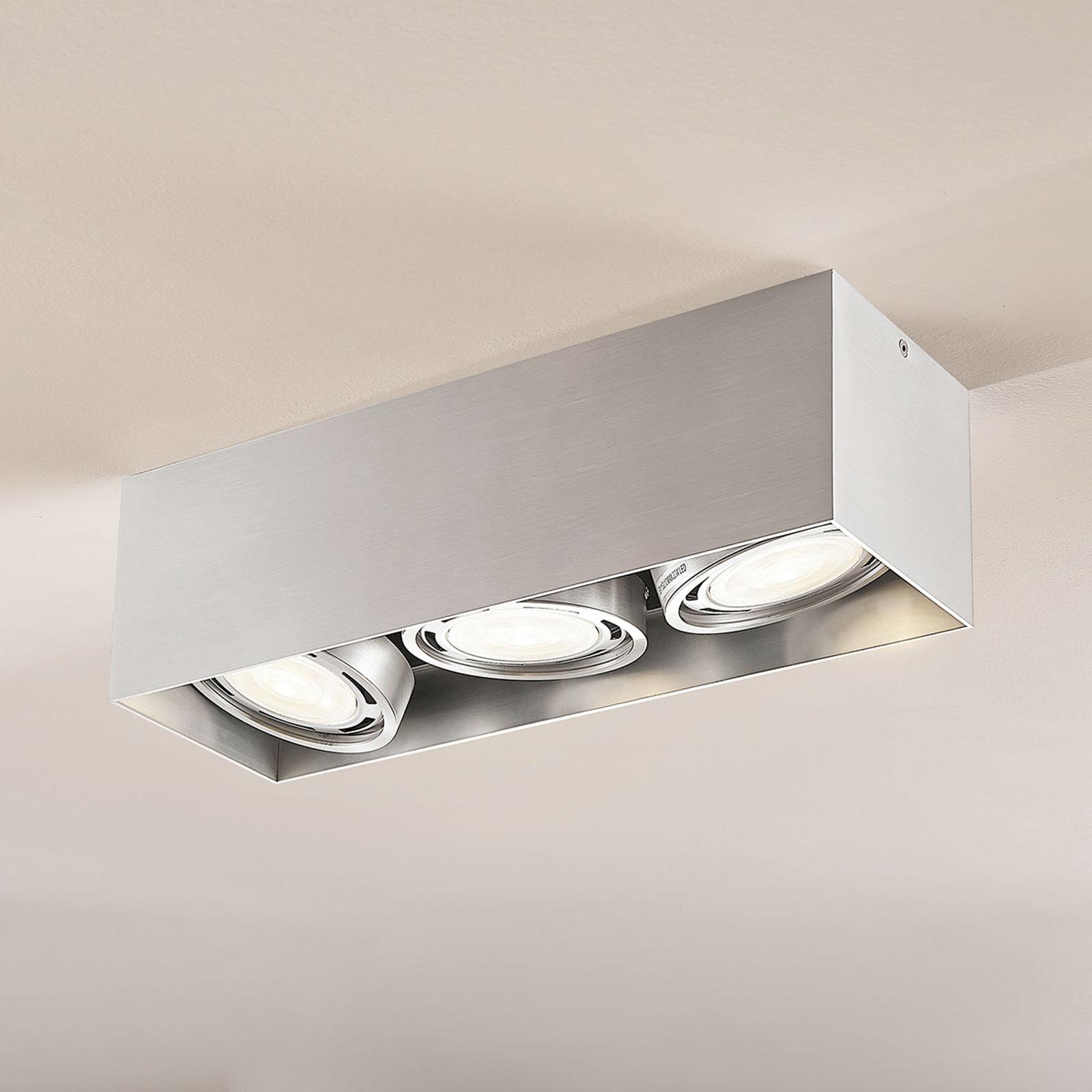 LED-alasvalo Rosalie 3-lamp., kulmikas, alumiini