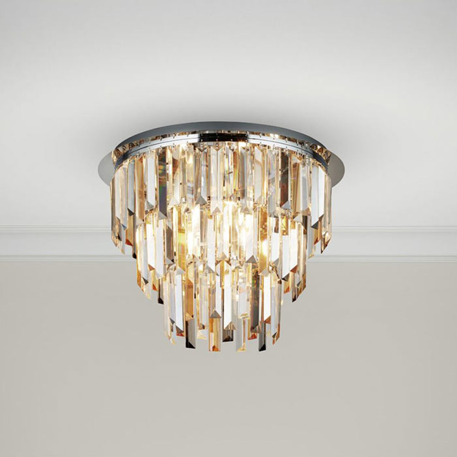 Taklampe Clarissa med krystaller